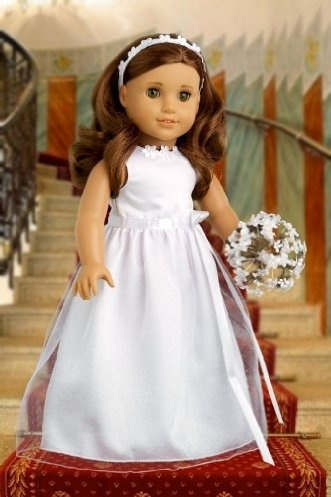 DreamWorld Collections My First Communion - White Satin Communion / Wedding Dress with Matching Headband and White Leather Dress Shoes - American Girl Doll Clothes : Special Occasion Doll Dresses