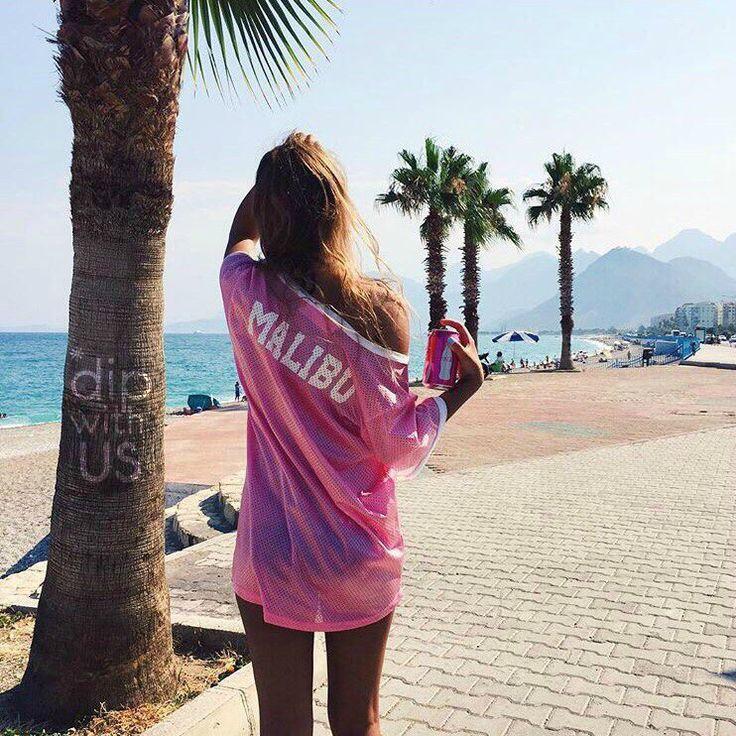 Малибу, пальмы, розовый, пляж, песок , океан, смотри
