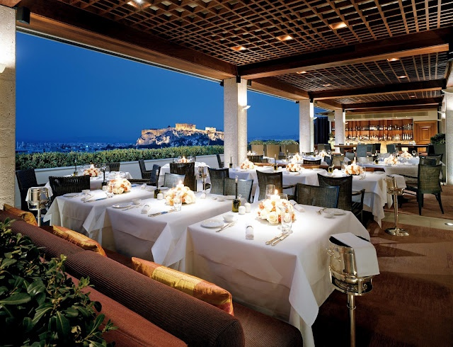 Delicious food with an amazing view on the rooftop of Hotel Grande Bretagne in Athens