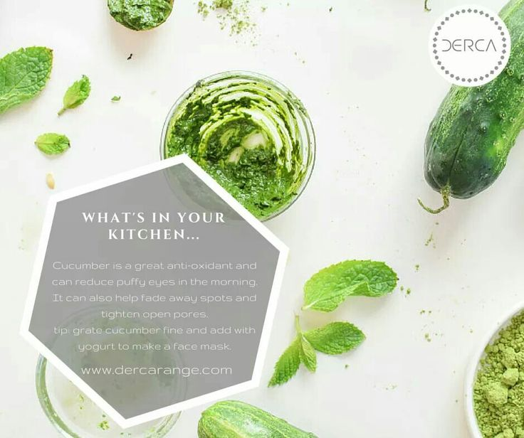 Make a skin mask with cucumber to treat dark spot and open pores. Get more tips with Derca @dercaproducts www.dercarange.com