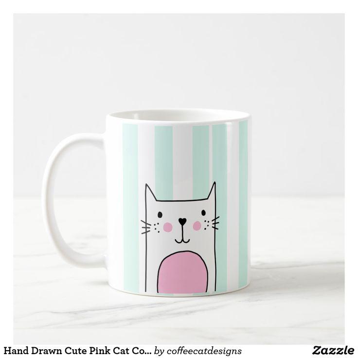 Hand Drawn Cute Pink Cat Coffee Mug - Blue Stripe  #coffeemug #mug #cat #cute
