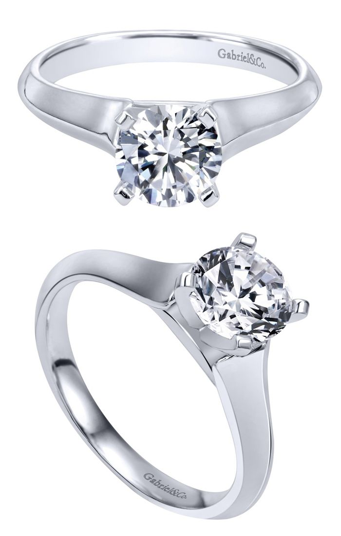 Gabriel & Co. - A gorgeous 14k White Gold Solitaire Engagement Ring.