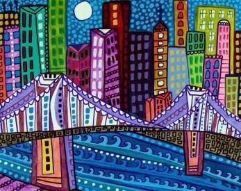 60% Off Cityscape Print Brooklyn Bridge New by HeatherGallerArt