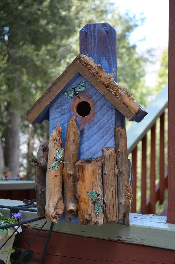 Rustic blue birdhouse with log-scrap trim, Inspired by dragonflies fluttering about with their brilliant colors
