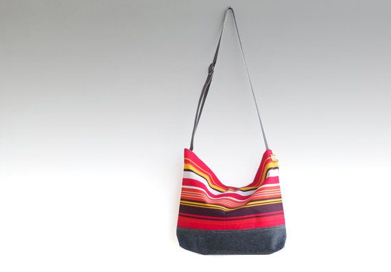 Red ecru stripe canvas tote bag  women messenger by dawnaparis, €42.00