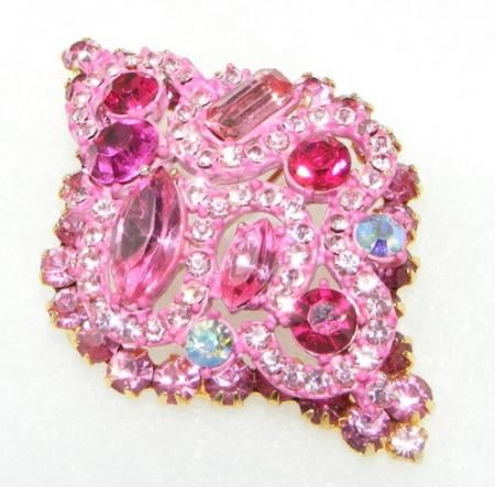 Vintage JULIANA / D&E Pink Enamel Rhinestone BROOCH Pin PAINT costume pendant in Jewelry & Watches, Vintage & Antique Jewelry, Costume
