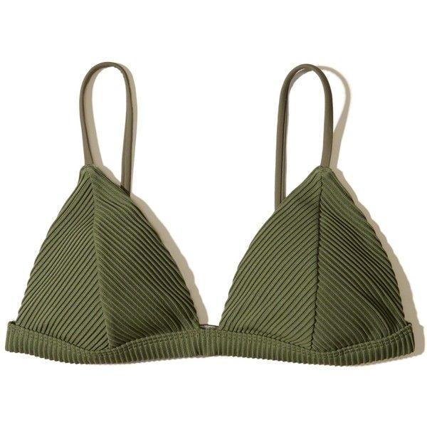 Hollister Ribbed Triangle Bikini Top ($25) ❤ liked on Polyvore featuring swimwear, bikinis, bikini tops, olive, triangle bikinis, triangle swim top, olive bikini, olive green bikini and swim tops