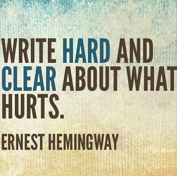Image result for Hemingway quotes write loud and clear about what hurts quote