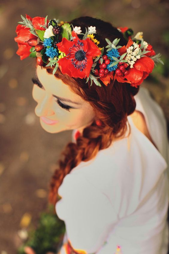 poppy red and cornflower blue wedding - bouquets - Google Search