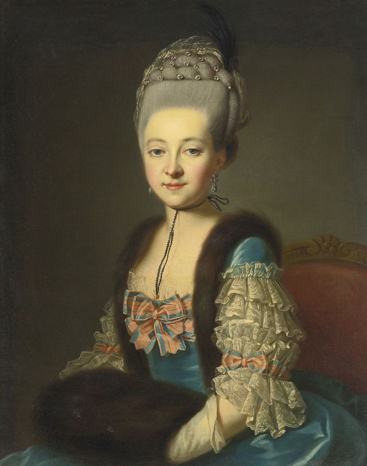 Portrait of a lady, in a blue silk dress with fur trim and muff by François Hubert Drouais