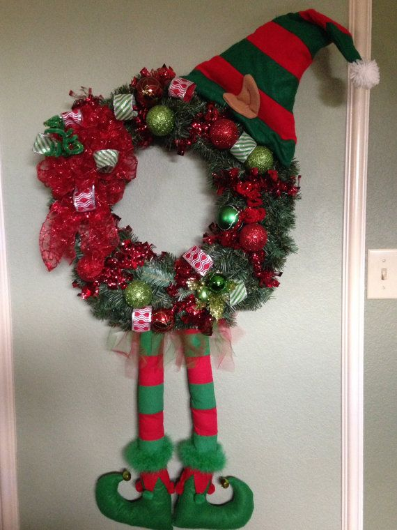 CHRISTMAS ELF WREATH whimsical red and green with elf hat and elf legs and elf shoes door hanger on Etsy, $145.00