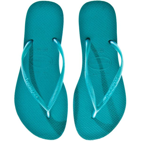 HAVAIANAS Slim Turquoise Rubber Flip-Flops (44 CAD) ❤ liked on Polyvore featuring shoes, sandals, flip flops, flats, beach, flats sandals, turquoise sandals, turquoise flats, summer sandals and rubber sole sandals