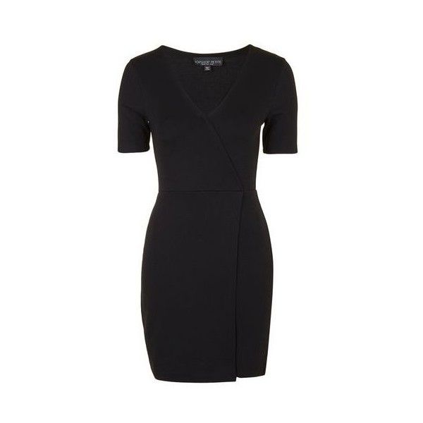 TopShop Petite v-Wrap Jersey Dress ($35) ❤ liked on Polyvore featuring dresses, black, petite bodycon dresses, form fitting dresses, body con dress, v neck jersey dress and petite wrap dress