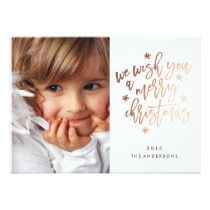 Gold We Wish You a Merry Christmas Holiday Card