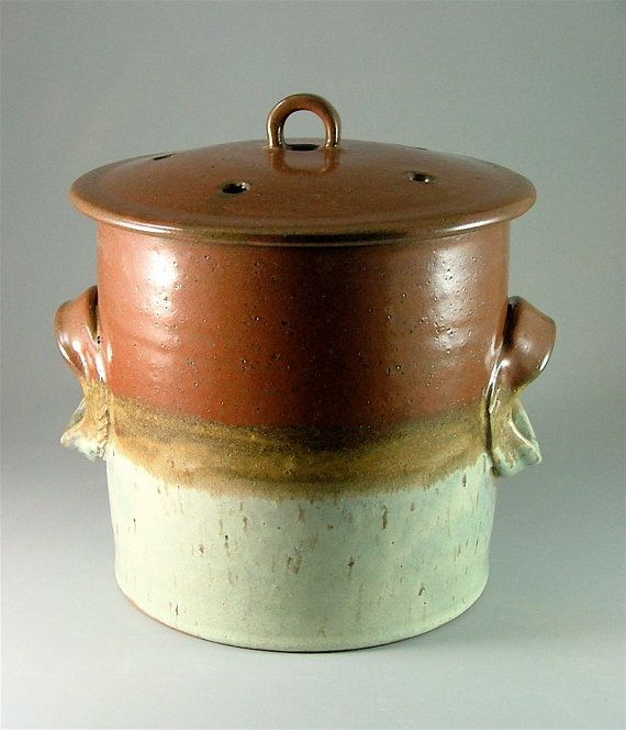 Pottery Compost Pot Brick Red Caramel Brown By MeganSmithPottery