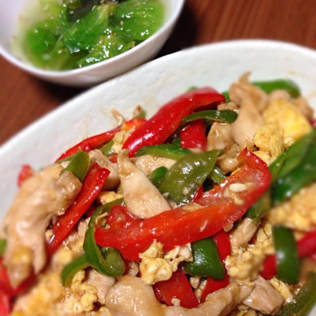 昨日のMOCO'Sキッチンのレシピです^ ^ スープは思いつきのあり合わせ中華スープ - 12件のもぐもぐ - 鶏胸肉のチンジャオロース  レタスとワカメたっぷりの新玉ねぎ入り中華スープ by Mahru