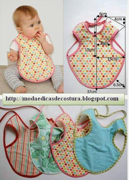 MODA E DICAS DE COSTURA: BABETES DE BEBÉ - 1  cute baby bib :-)