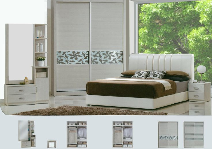 The Zachary Bedroom Set Description: Specially designed, sleek and classy, the Zachary bedroom set was design to its finest lines. Keeping it simple and neat with clean lines, it consists of a 2 sliding door wardrobe.