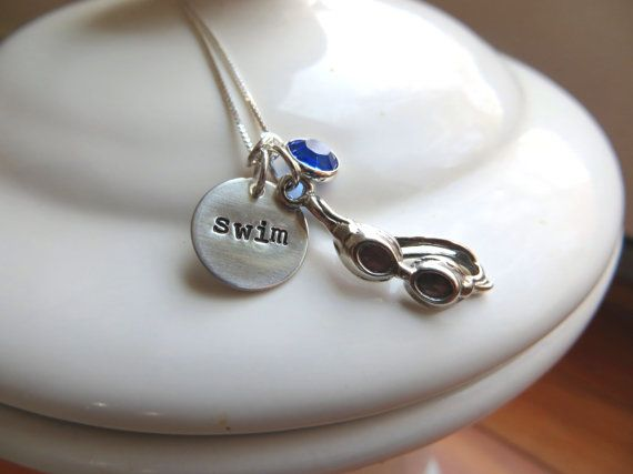 Swim goggle necklace with sterling silver hand by WhatCoolMomsWant, $41.00