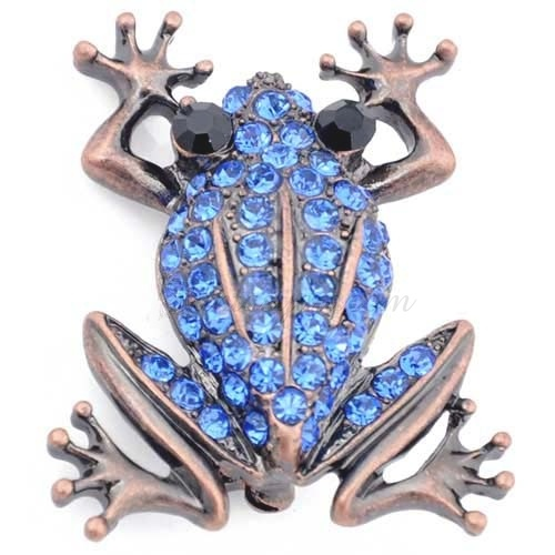 Sapphire Blue Frog Pin