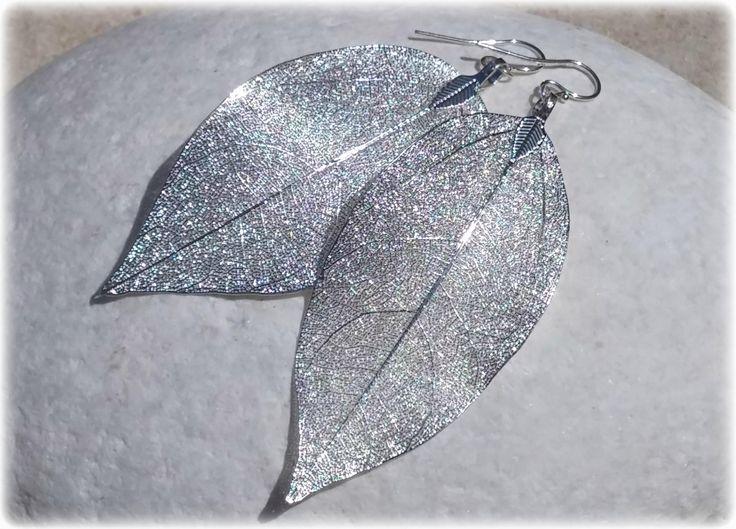 Silver Leaf Earrings, Statement Earrings Wedding Jewelry, Natural Leaves Autumn Jewelry Bridal Earrings Filigree Earrings, Bridesmaids Gift by KarousosJewelry on Etsy