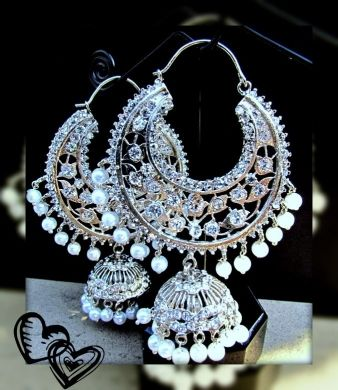 Silver and Pearl Jhumka Earrings