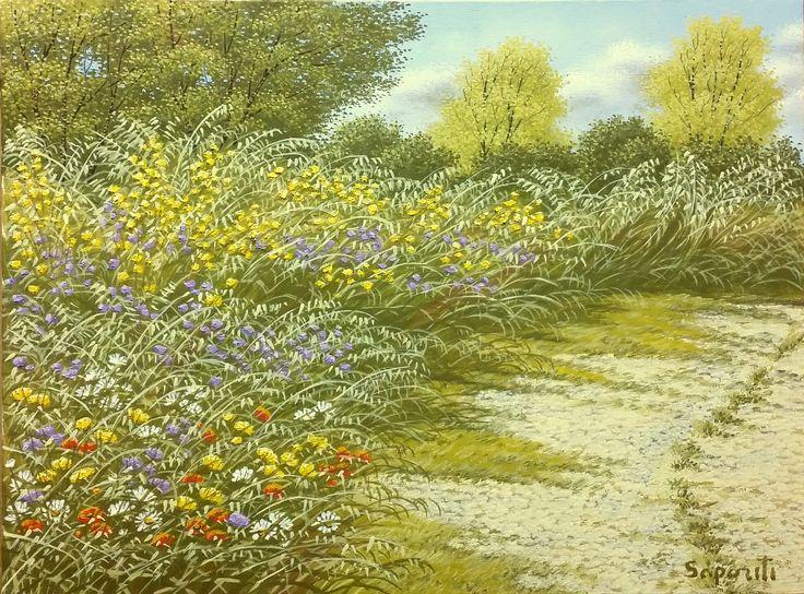 Sentiero tra i fiori, olio su tela, pittura, dipinto, paesaggio