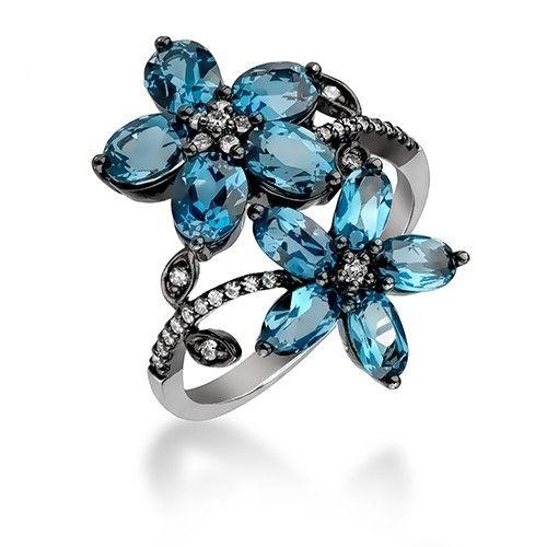 Inel diamante si topaz albastru DIHK00261 ‐ Bijuteria Teilor
