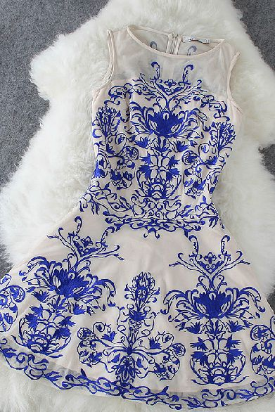 The new 2014 blue and nude porcelain sleeveless dress lace embroidery