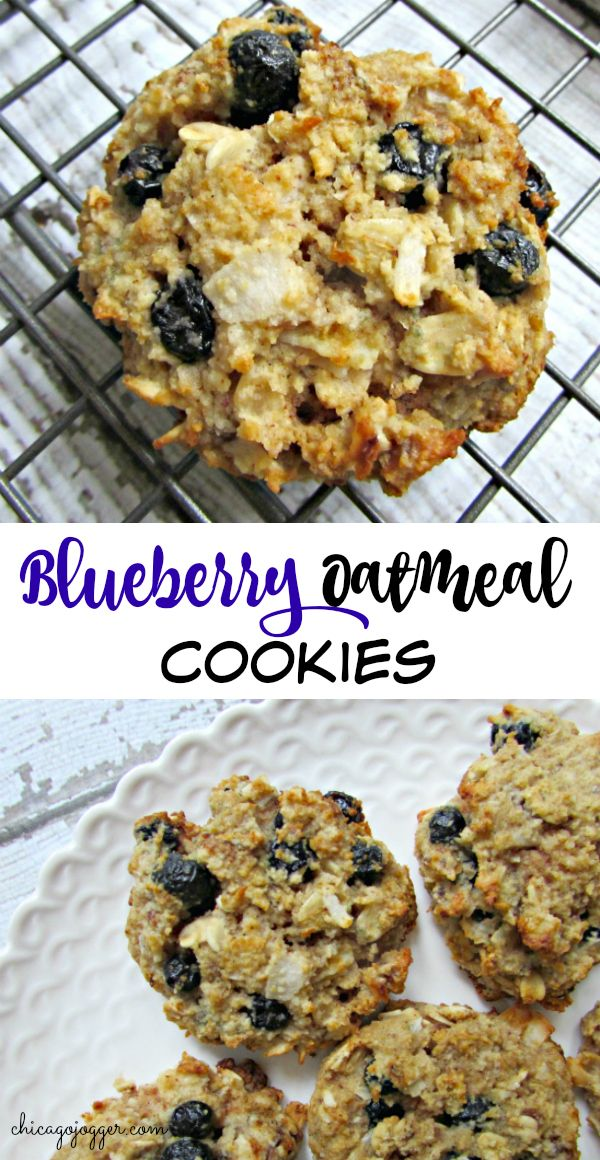 Blueberry Oatmeal Cookies - This healthier dessert or snack recipe for Blueberry Oatmeal Cookies is flourless and sweetened naturally with dates. Adding crunchy coconut flakes and almond butter reminds me of a buttery pie crust. | Chicago Jogger