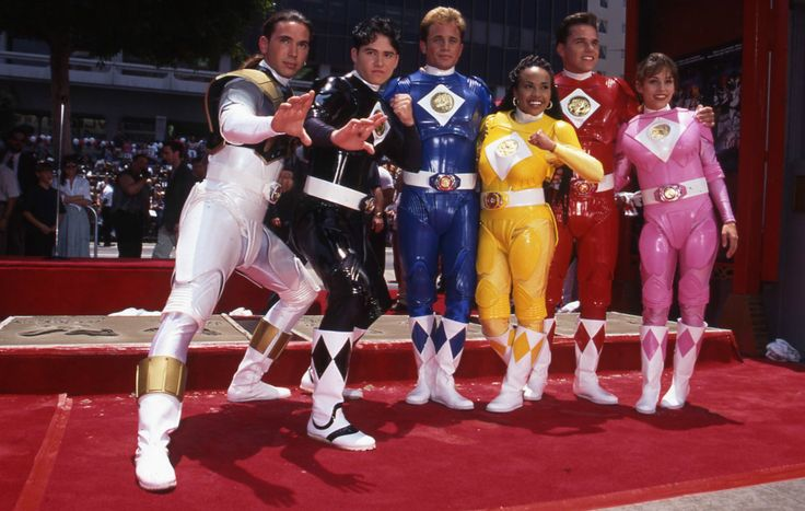 The Power Rangers at Grauman's Chinese Theatre for the Launch of The Mighty Morphin Power Rangers Movie in 1995 - Jason David Frank, Johnny Yong Bosch, David Yost, Karan Ashley, Steve Cardenas, Amy Jo Johnson