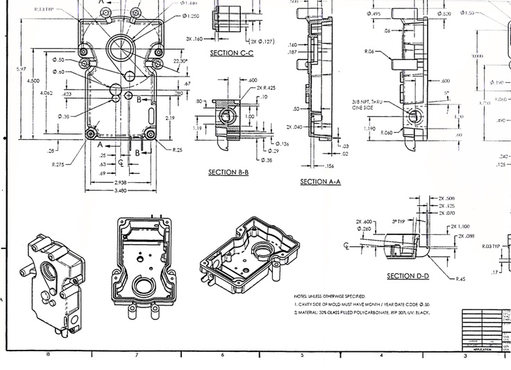 Fab Drawing Injection molded part My CAD Engineering