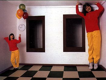 There are two illusions associated with the Ames Room. First the room appears cubic when viewed monocularly from a special viewing point (th...