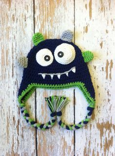 Monster crochet hat blue 05T by GBabyCrochet on Etsy, $25.00