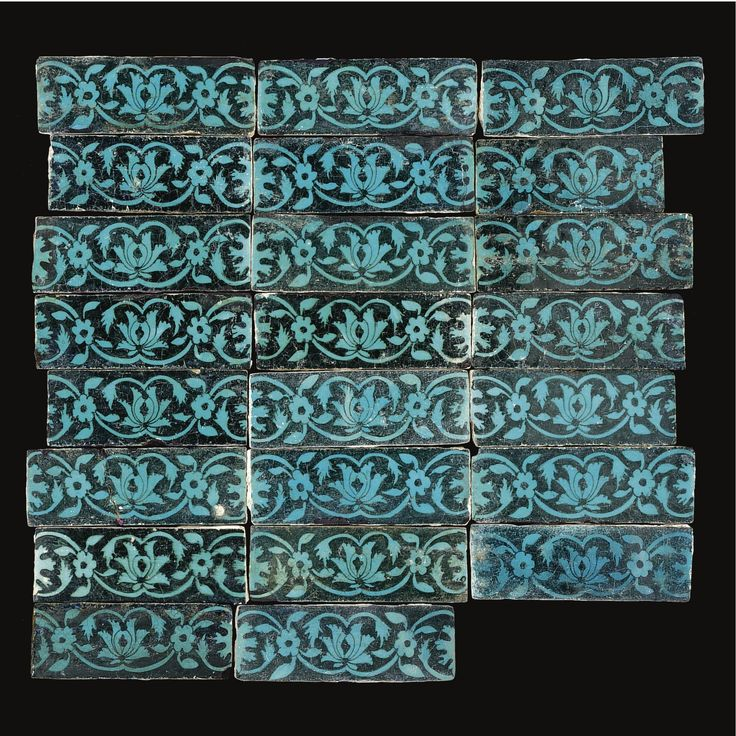 A group of turquoise-glazed border tiles, Tabriz, Persia, 15th century