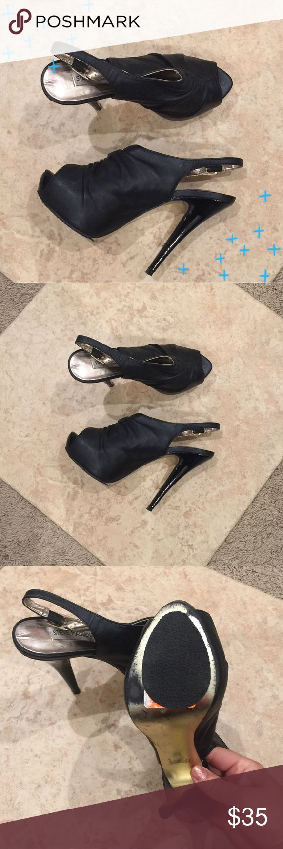 """Steve Madden sexy 'Daria' black heels Amazing Steve Madden 'Daria' heels in black. Worn a handle of times in Vegas- truly the perfect going out heel! No slip bottoms have been added to the bottom of the shoes, but they can be removed. Approx 5"""" heel with a 1"""" hidden platform at the toes. Open to offers, no trades. Steve Madden Shoes Heels"""