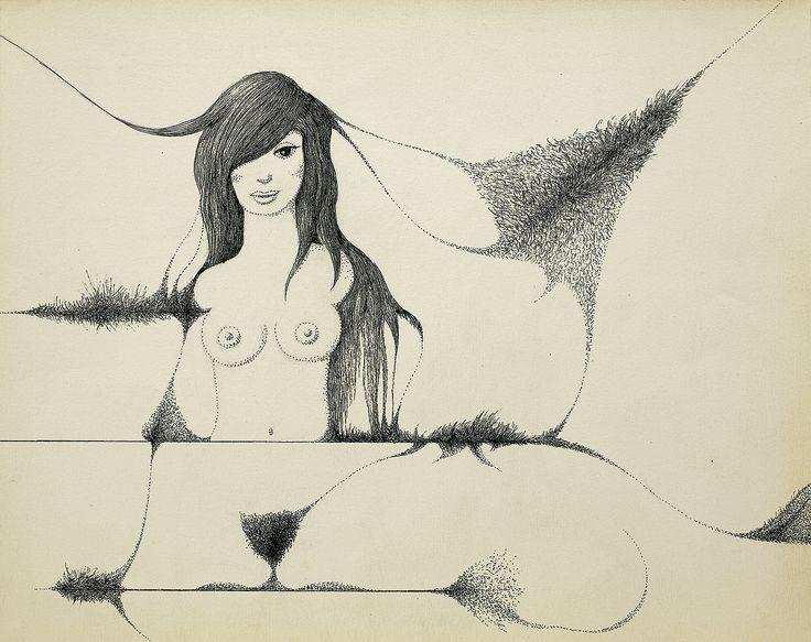 Kazimierz Mikulski | <i>AKT, lata 80.- 90. XX w.</i> | tusz pióro, ołówek, papier | 24 x 29.4 cm