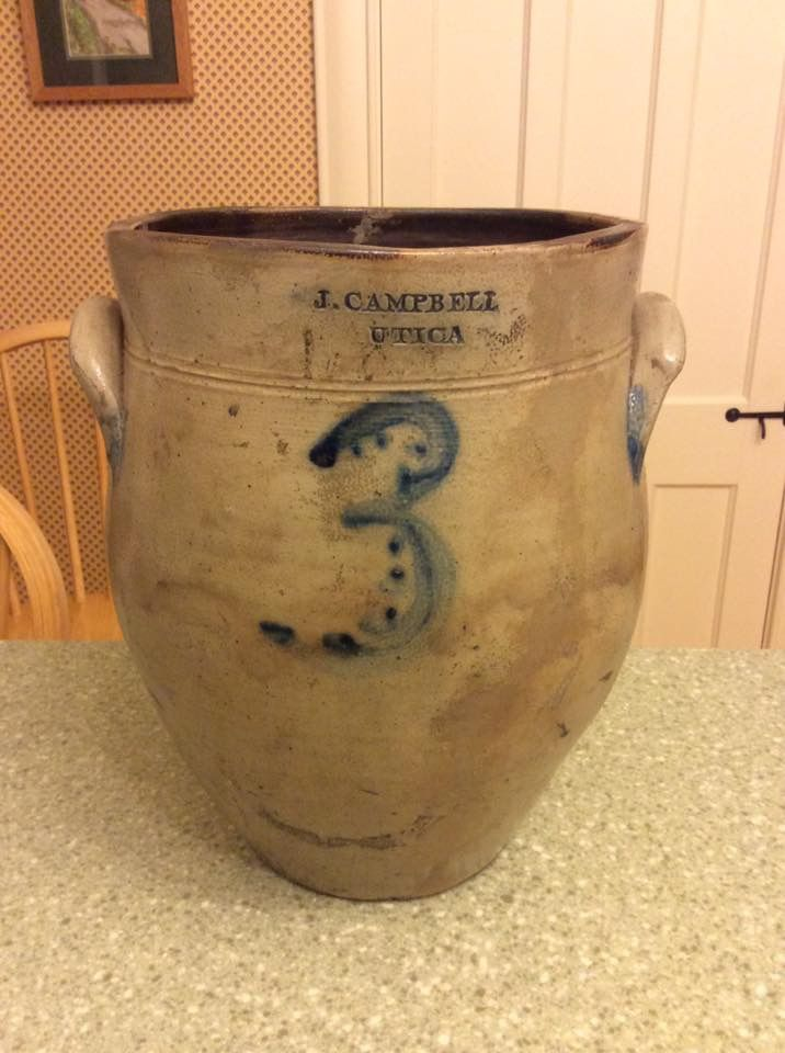 Early J. Campbell 3 gallon cream pot. First potter in Utica.