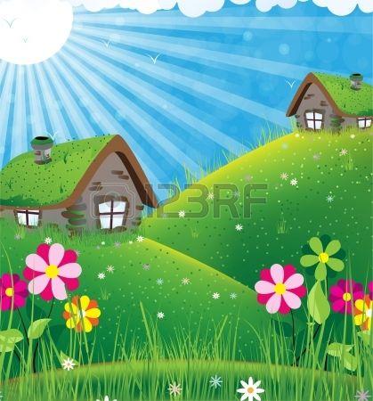 Due case con tetti di zolle su un prato verde Estate paesaggio pieno di sole Archivio Fotografico