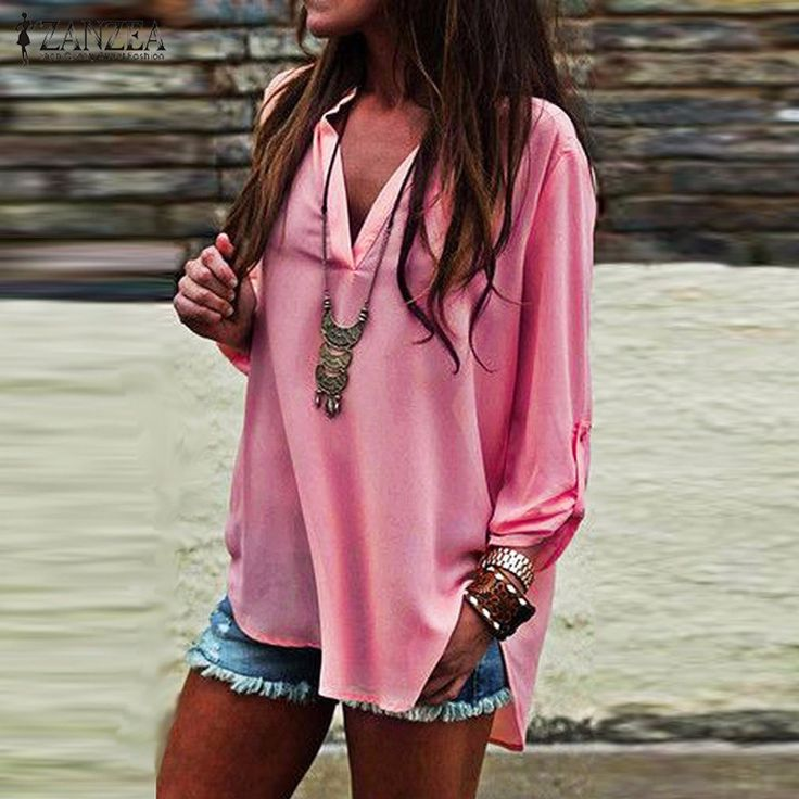 Cheap blouse wearing, Buy Quality blouse pants directly from China blouse vest Suppliers: ZANZEA 2017 Summer Women Vintage Blouses Sexy V Neck Long Roll Up Sleeves Solid Shirt Casual Loose Chiffon Blusas Tops Oversized
