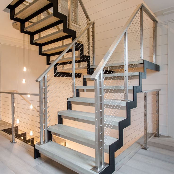 Best Modern Black Steel And Brushed Stainless Stairs And 400 x 300