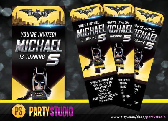 Batman Lego Movie Birthday Ticket Invite by Partystudio on Etsy