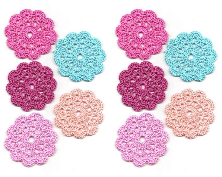 10 x Crochet Mini Doilies Handmade Crochet Embellishment Small Crochet Doilies