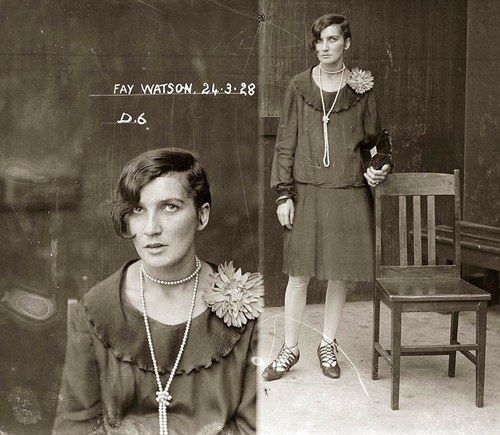 Fay Watson poses for the camera on March 24, 1928 at Sydney's Central Police Station. The Sydney Morning Herald reported her arrest in Crown Street, Darlinghurst and subsequent conviction for cocaine possession. She was fined 10 pounds. Picture: NSW Police Forensic Photography Archive, Justice & Police Museum, Historic Houses Trust of NSW