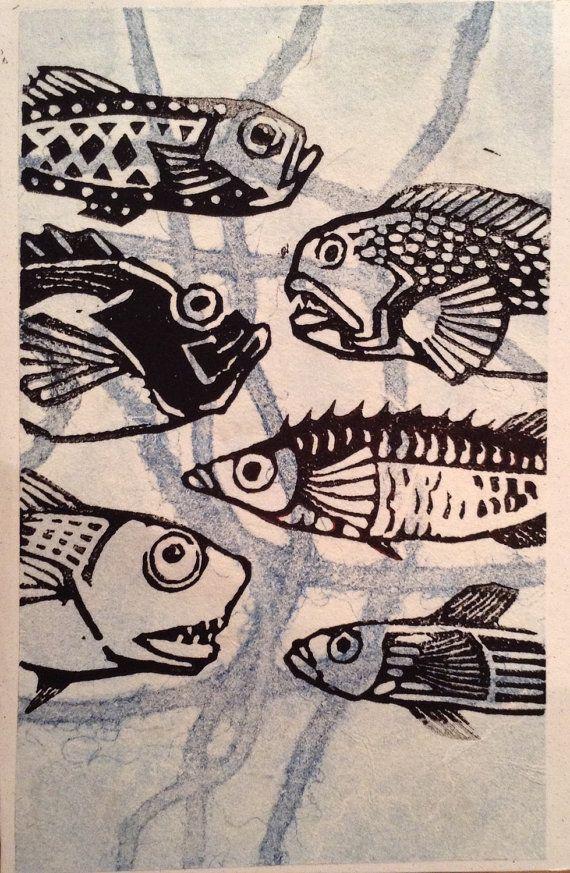 Fish card Print made of Gelliprint & Linoprint by maritmoss