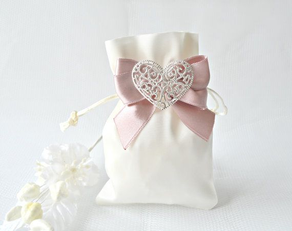 Satin wedding favor bags with silver heart by JasmineWeddingPrints