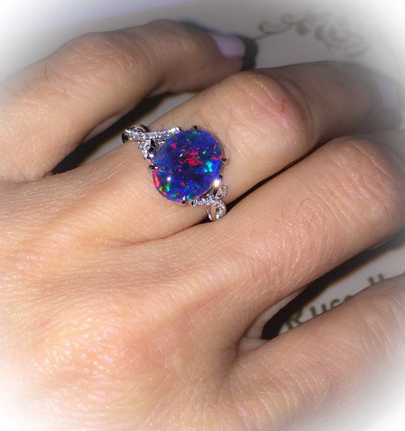Natural Black Australian Opal Ring 18k White Gold & Genuine Diamonds RARE Coober Pedy Mine Opal Triplet Fashion Birthstone Anniversary Ring  $770