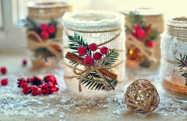 Glass Jar Christmas Crafts - 17 Homemade Inspirations - use cranberries, cinnamon, pine sprigs, upcycled burlap and ribbons to create awesome table decoration!