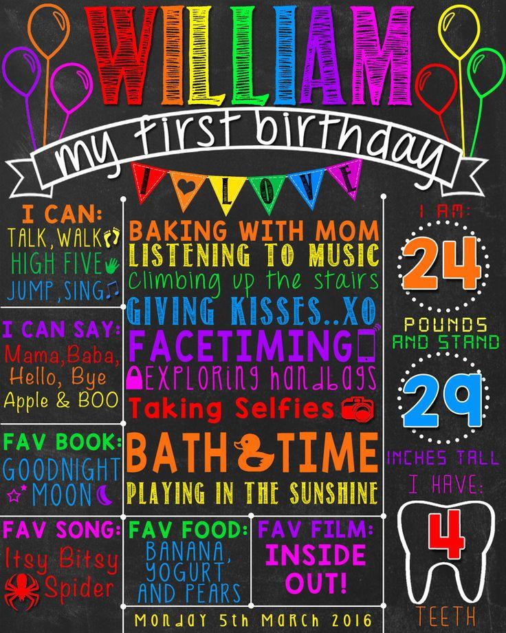 Balloon Rainbow First Birthday Chalkboard Poster |Multicolored 1st Birthday Chalk Board | Rainbow balloons | DIGITAL FILE - PRINTABLE