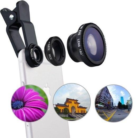 Lsxd فيش عدسة 3 في 1 الهاتف المحمول كليب عدسات عين السمكة زاوية واسعة ماكرو عدسة الكاميرا ل فون 6 ثانية زائد 5 ثانية/5 xiaomi هواوي
